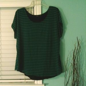 Green/Black Striped Blouse with Faux Open Back